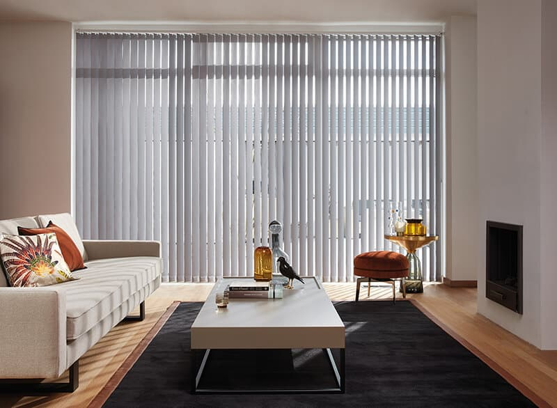 4 luxaflex vertical blinds in modern living room